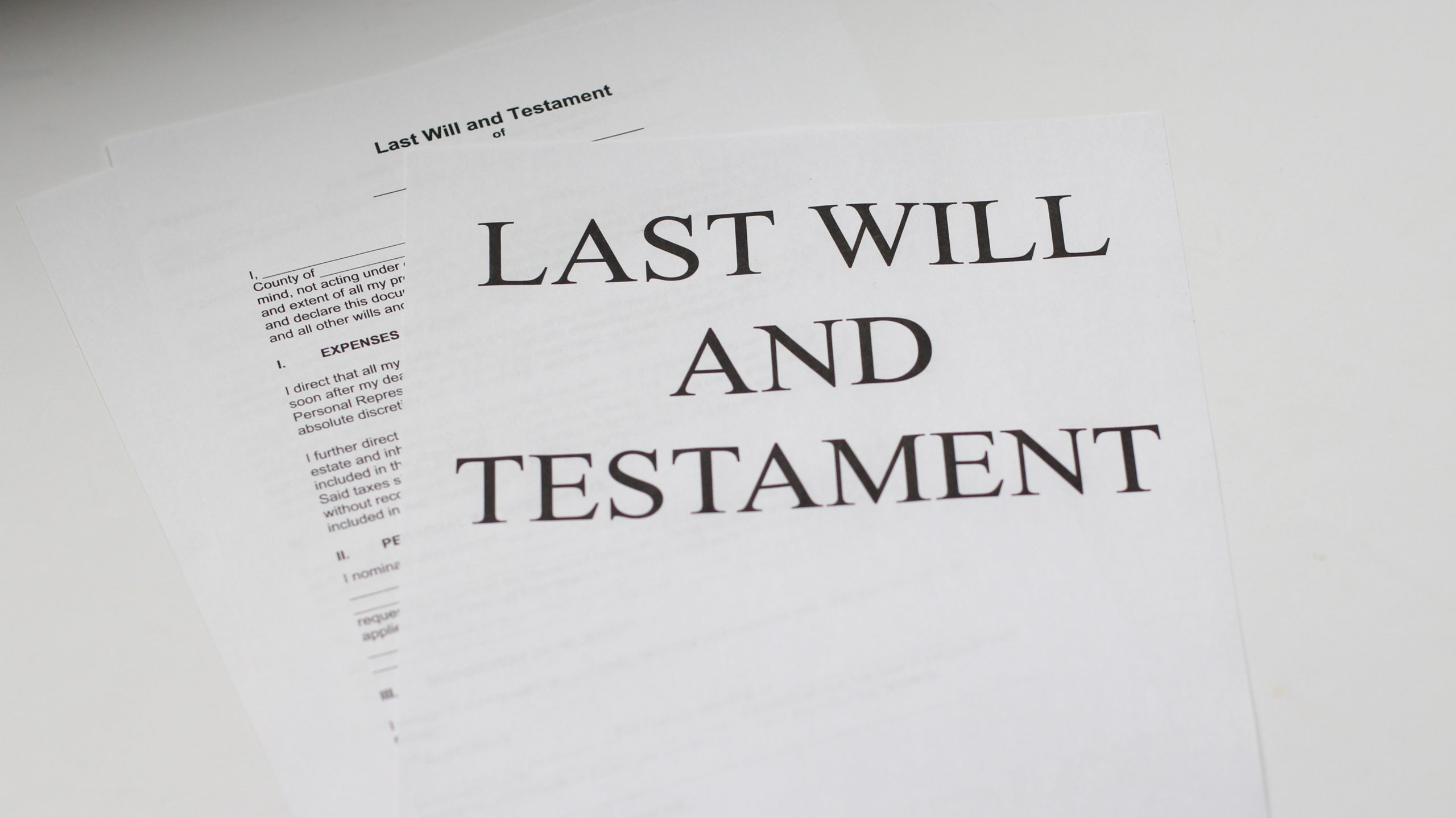 Image of a Last Will and Testament Document